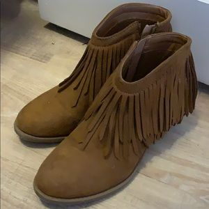Shoes - Vegan suede fringe booties 9